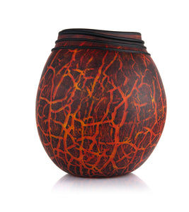 "Glass Vessel ""Crackled Kilauea Calabash LB164"""