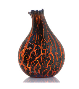 "Glass Crackled Vessel ""Crackled Kilauea CV31"""