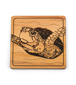 Koa Modern Coaster - Swimming Honu