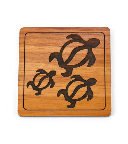 Koa Modern Coaster - Three Honu