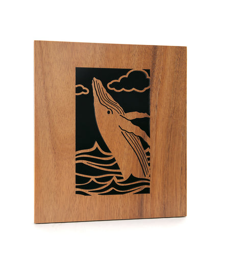 Koa Wall Art - Breaching Whale
