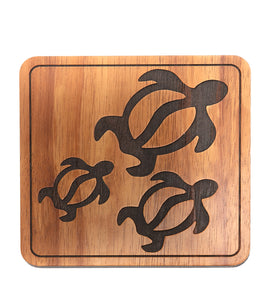Koa Trivet - Three Honu