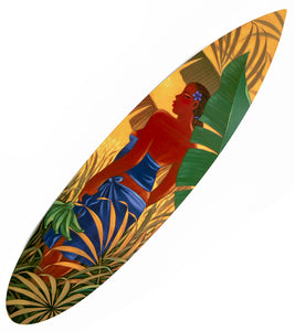 """Green Bananas"" Metal Surfboard Print"