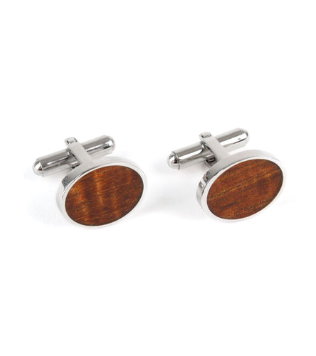 Koa Cuff Links - Oval