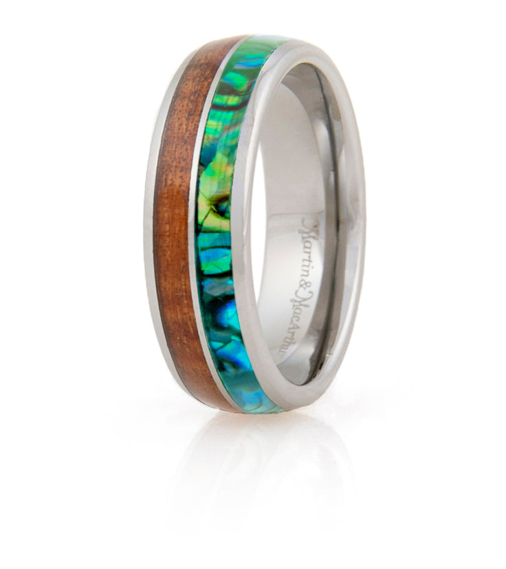 Koa Eternity Ring - Pau'a Stripe