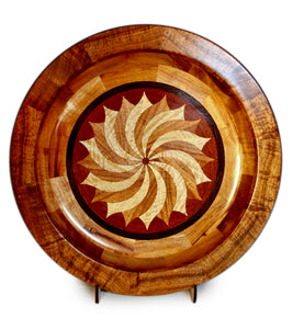 "Segmented Koa Platter ""Pinwheel"" 20"" by Mark and Karen Stebbins"