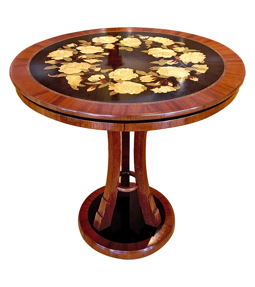 Rose Bouquet Marquetry Table