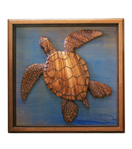 "Koa Wood Sculpture Framed ""Turtle"""