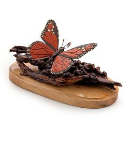"Wood Sculpture ""Monarch Butterfly #19"""