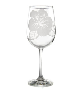 "Etched Glassware Wine ""Hibiscus 24600"""