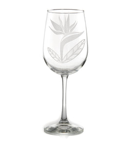 "Etched Glassware Wine ""Bird of Paradise 24601"""
