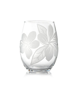 "Etched Glassware Stemless Wine ""Plumeria 24605"""