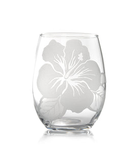 "Etched Glassware Stemless Wine ""Hibiscus 24606"""