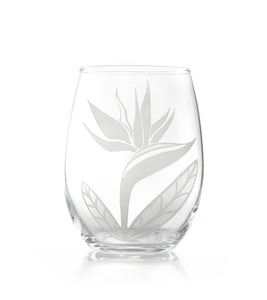 "Etched Glassware Stemless Wine ""Bird of Paradise 24607"""