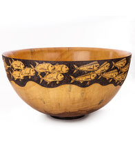 "Pyrography Cook Pine Bowl ""Hawaiian Fish #530"""