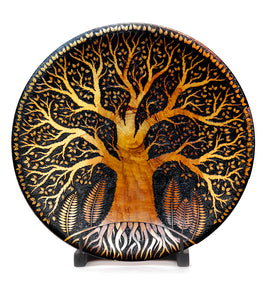 "Pyrography Cook Pine Platter with Stand ""Tree of Wisdon"" by Michael Patrick Smith"
