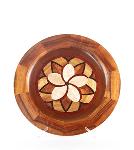 "Segmented Koa Platter ""Plumeria"" 14"" by Mark and Karen Stebbins"