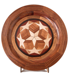 "Segmented Koa Platter ""Seeing Stars 401"" 20"" by Mark and Karen Stebbins"