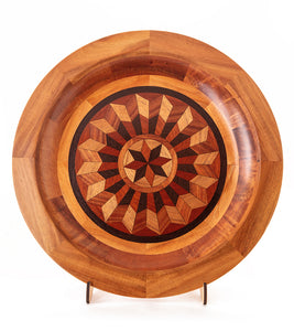 "Segmented Koa Platter ""Supernova"" 20"" by Mark and Karen Stebbins"