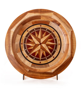 "Segmented Koa Platter ""Compass Rose"" 20"" by Mark and Karen Stebbins"
