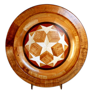 "Segmented Koa Platter ""Seeing Stars 334"" 20"" by Mark and Karen Stebbins"