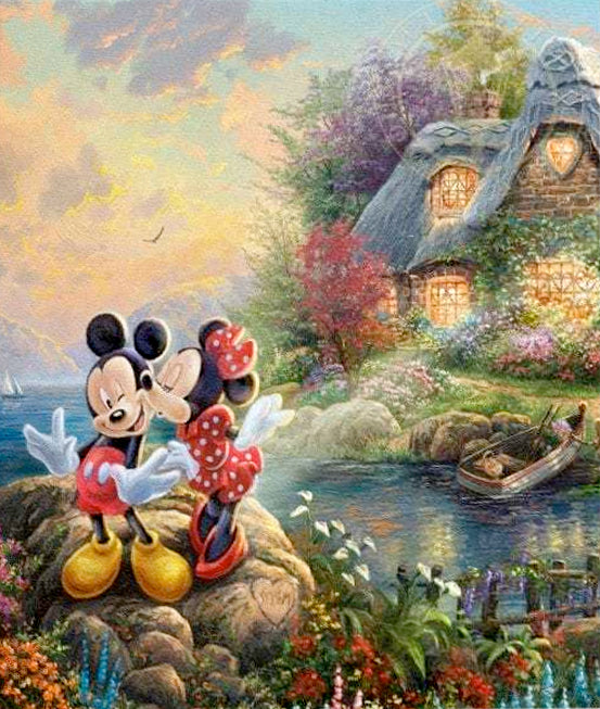 Mickey & Minnie Sweetheart Cove by Thomas Kinkade Studios