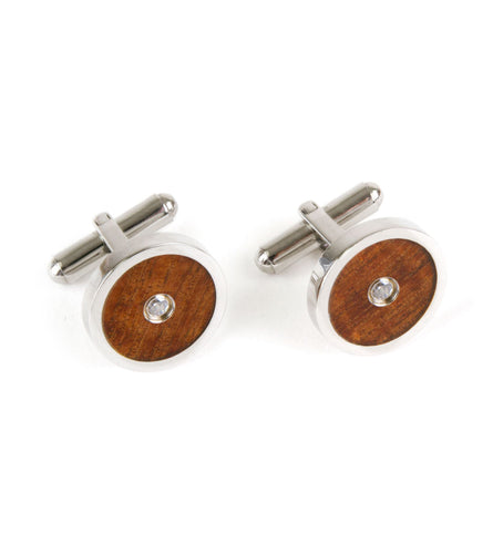 Koa Cuff Links - Crystal