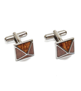 Koa Cuff Links - Pyramid