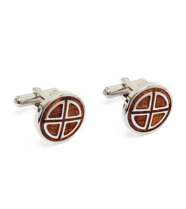 Koa Cuff Links - Round Cross