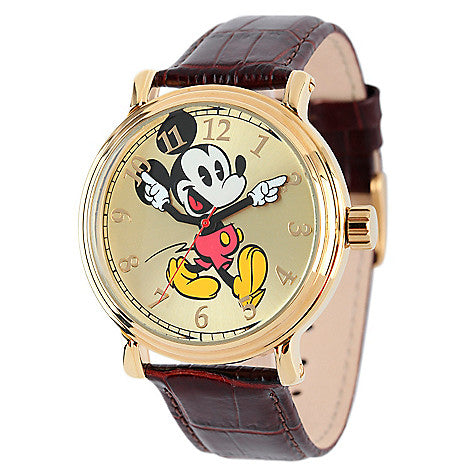 Disney® Mickey Mouse 44mm Vintage Dial Quartz Leather Strap Watch