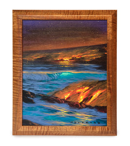 Origilan Acrylic Painting on Wood: Big Island Lava by Walfrido Garcia