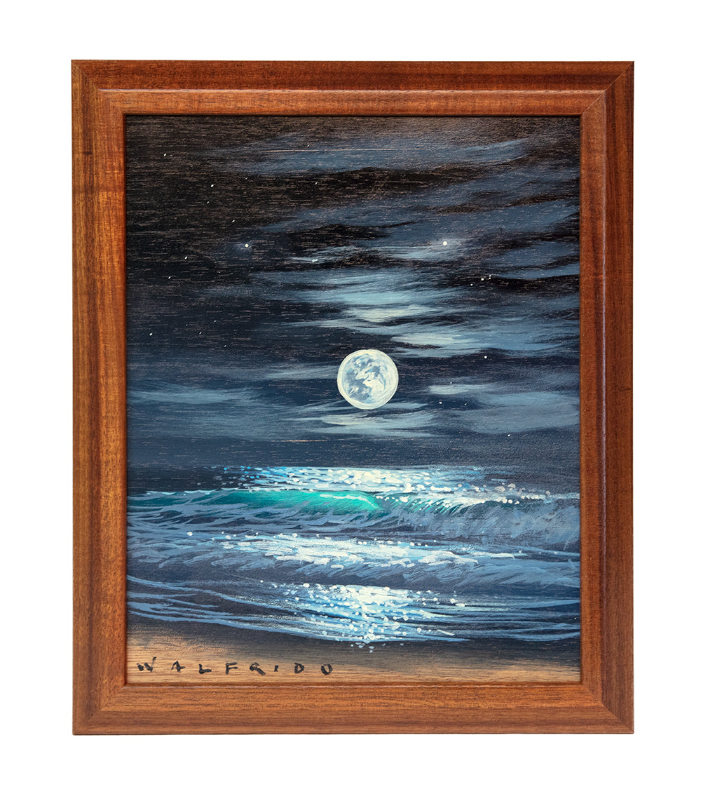 Original Acrylic Painting on Koa: Full Moon Seascape by Walfrido Garcia