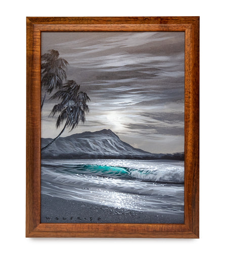 Original Acrylic Painting on Wood: Shadows of Gray Diamond Head by Walfrido Garcia
