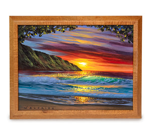 Original Acrylic Painting on Wood: North Shore Sunset by Walfrido Garcia