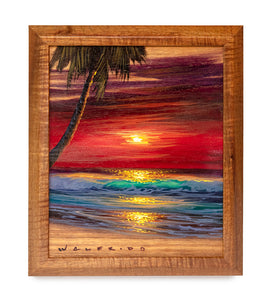 Original Acrylic Painting on Koa: Sunset Seascape by Walfrido Garcia