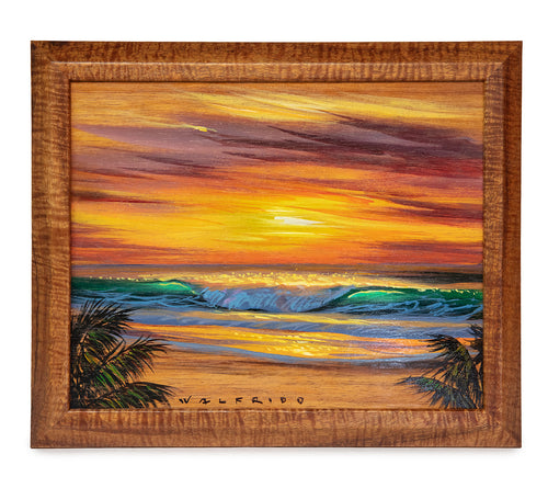 Original Acrylic Painting on Koa: Tropical Sunset by Walfrido Garcia
