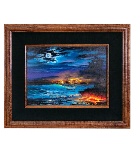 Original Painting: Waves, Moon and Fire by Walfrido Garcia