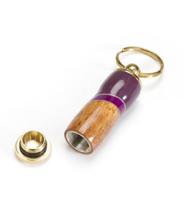Koa Pill Holder Key Ring - Purple
