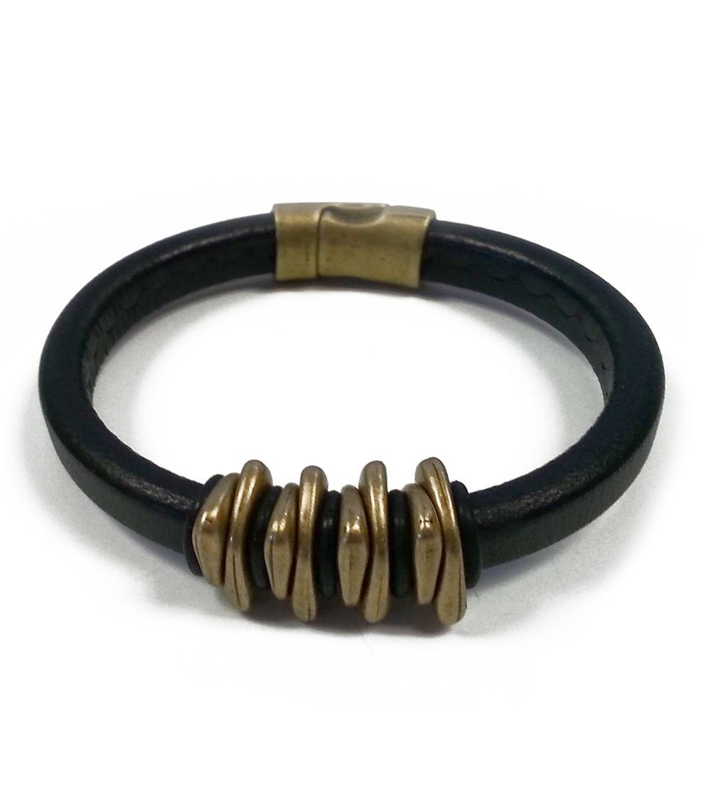 Brass/Black Space Leather Bracelet
