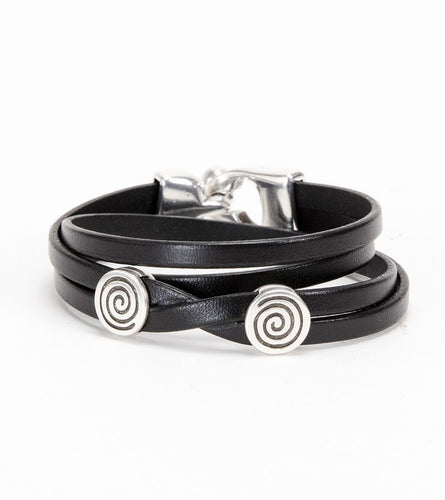 Silver/Black Eternity Double Wrap Leather Bracelet