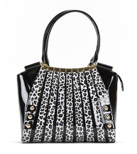 Irina White Panther Print Large Handbag