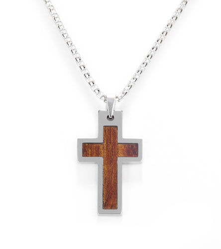 Koa Eternity Cross Pendant