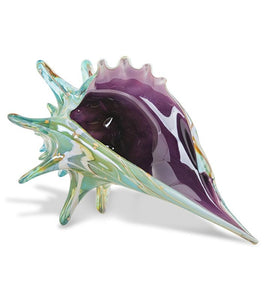 "Glass Sculpture ""Teal Seashell"" Large"
