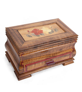 "Koa and Purple Heart Jewelry Box ""Hibiscus"""
