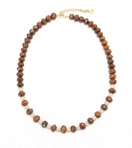 Koa Faceted Gemstones, Pave Fireballs Necklace Koa Fine Jewelry