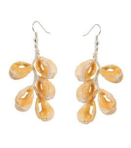 Orange Shell Drop Earrings