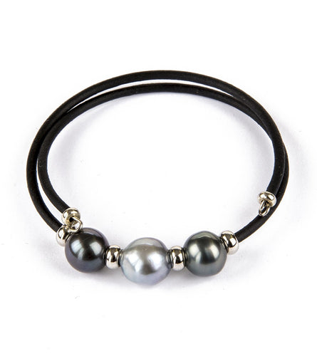 Tahitian 3 Pearl Black Adjustable Bracelet
