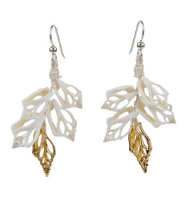 White & Gold Shell Earrings