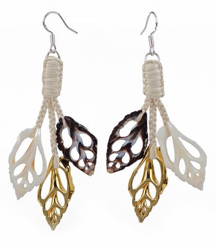 Black, White & Gold Shell Earrings