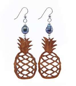 Koa Pineapple Pearl Silver Earrings